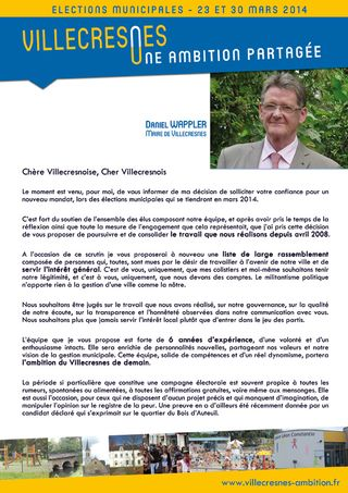 Villecresnes Ambition Daniel WAPPLER Lettre de candidature villecresnes 2014