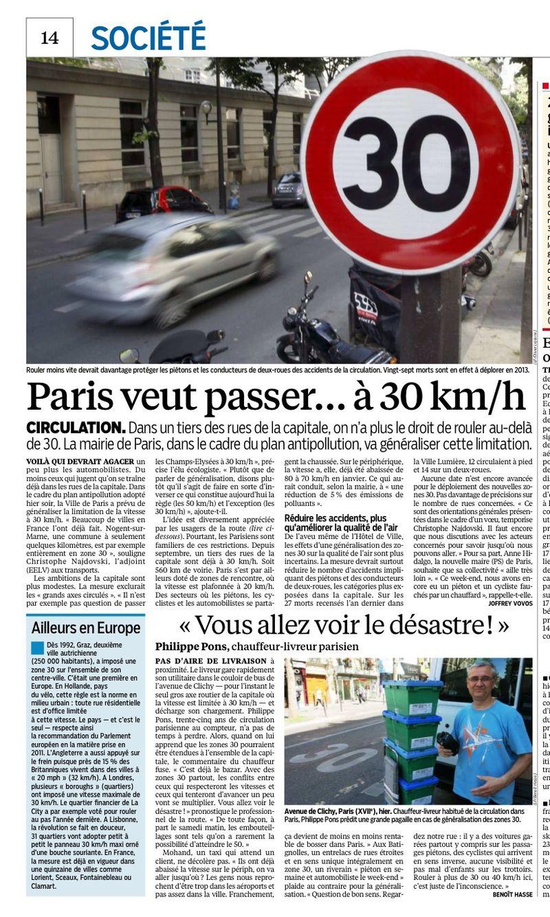 Parisien 20 mai 2014- 30kmh