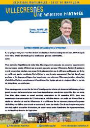 lettre ouverte au candidat de l'opposition de Daniel WAPPLER - Villecresnes Ambition à Gérard GUILLE - Bien Vivre à Villecresnes