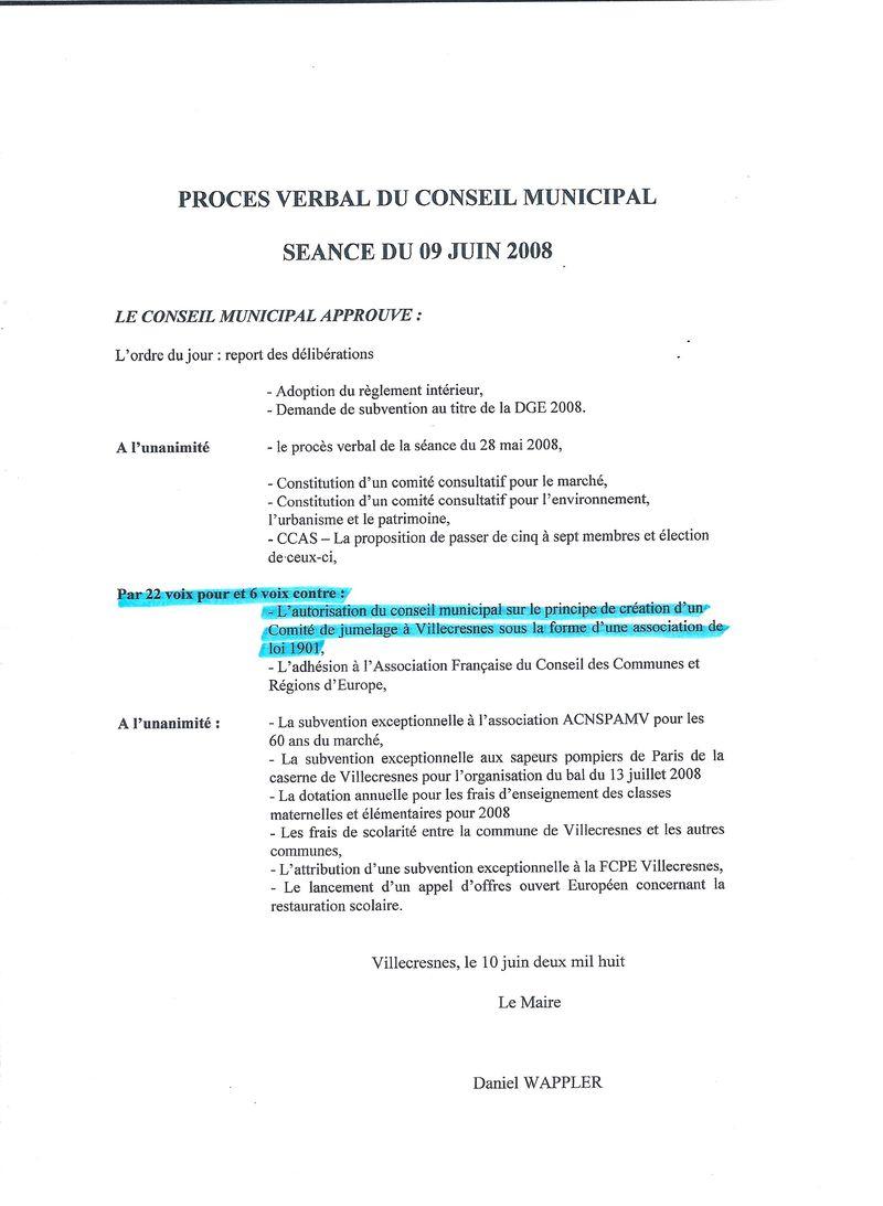 CR succint conseil municipal du 9 juin 2008